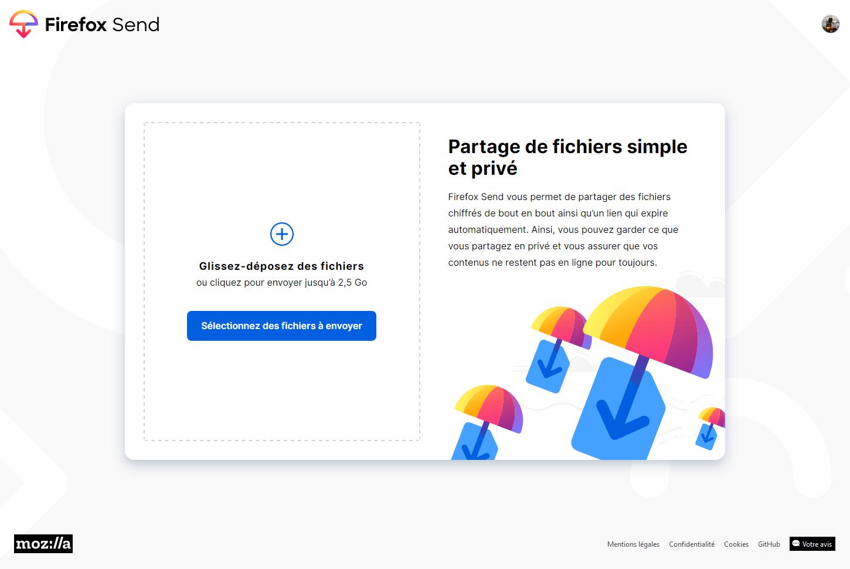 Firefox Send Fichiers